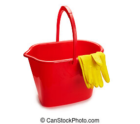 Housework items - plastic bucket with cleaning gloves...
