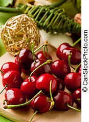 Cherry Dessert on cutting board - photo of delicious...