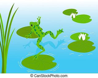 Frog pond, eps8 - Frog jumping in clear water, eps8