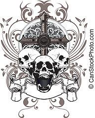 czaszka, krzyż