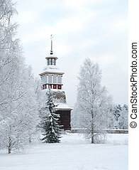 Wooden church in Finland - Wooden church in winter in...
