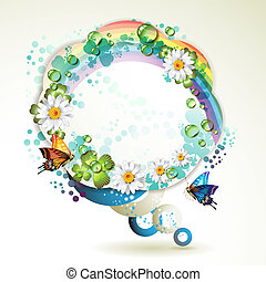 Abstract background with butterflies, flowers, rainbow and...