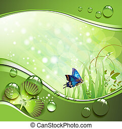 Butterfly, clover and grass with drops of water over...