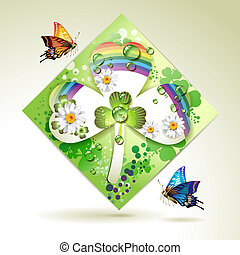 Clover over decorative shapes of paper and colored abstract...
