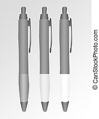 pens - black, gray and white pens over gray and white...