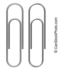 paper clips - silvers paper clips over white...