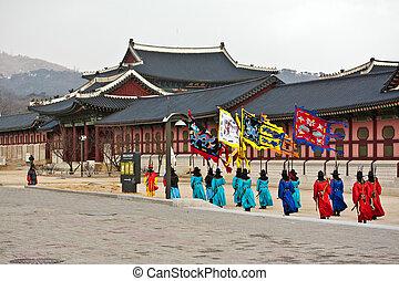 tradycyjny, tkorean, opiekunowie