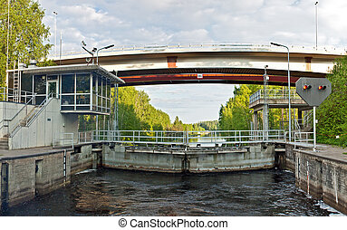 Closed sluice on Saimaa channel