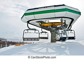 Ski lift station - Landscape with ski lift station in Geilo,...