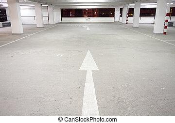 parking - indoor carpark atnight in wode angle
