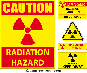 Radiation hazard signs - Set of radiation hazard signs
