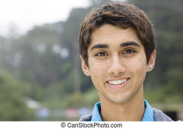 Indian Teen Boy - Portrait of an Indian Teen Boy Smiling...