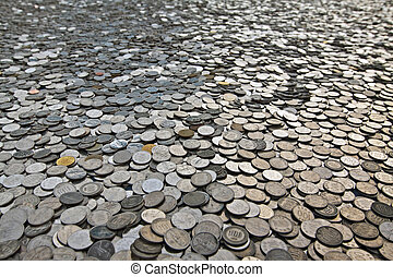 Many coins - A background of korean won coins with shallow...