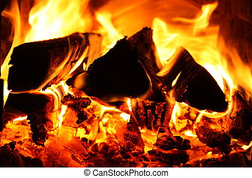 Fire - Indoor fire place with logs on fire
