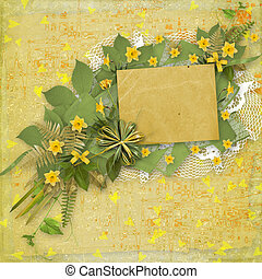 Card for invitation or congratulation with bunch of flower