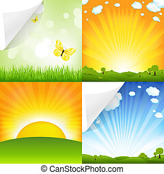 Collection Of Landscapes, Vector Illustration