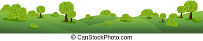 Landscape Panorama, Isolated On White Background, Vector...