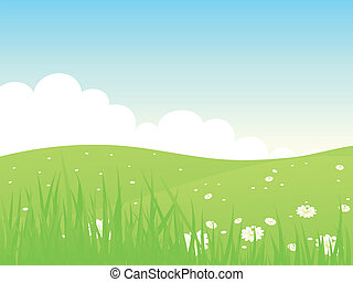 Beautiful green fields landscape Vector illustration