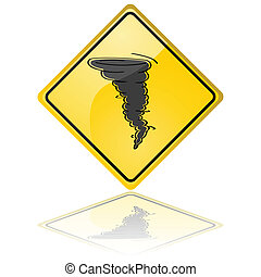 Tornado warning sign - Glossy illustration of a warning sign...