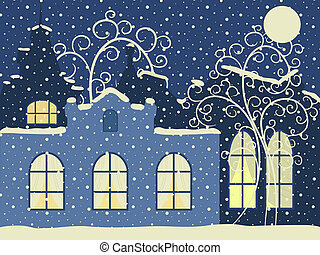 Retro winter city Vector illustration