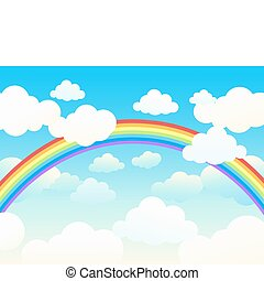 Beautiful rainbow cloudscape Vector illustration
