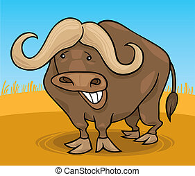 african buffalo - cartoon illustration of funny african...