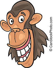 chimpanzee - cartoon illustration of funny chimpanzee ape