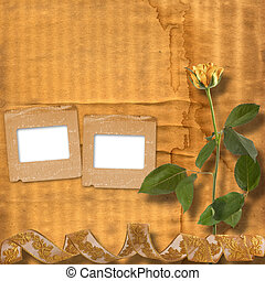 Grunge paper for congratulation with beautiful roses