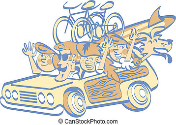 Cartoon Family On Vacation Clip Art - Cartoon family on...