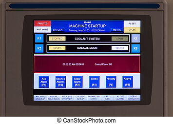 Control panel of the equipment in a modern machine shop