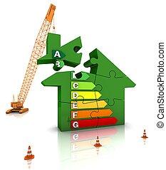 Energy Efficient Home - Construction site crane building an...