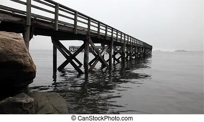 Fishing pier with water