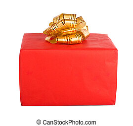 Holiday gift box decorated with ribbon isolated on white...