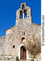 Traditional church at Mani, Greece - Traditional village and...