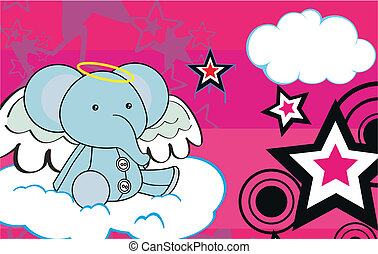 elephant angel cartoon background5
