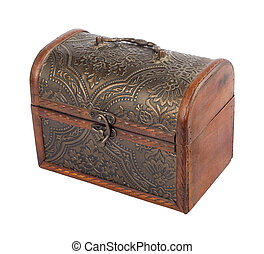 The old wooden chest on white isolated background