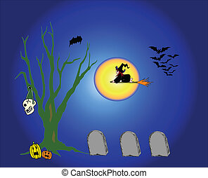 Witch Fliying - Witch flying in full moon around cemetery...
