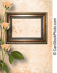 Wooden frame for photo with beautiful roses