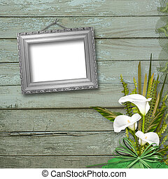 Grunge frame with bunch of flower on the abstract background