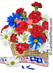 Patriotic floral basket - Carnations and daisies in wicker...