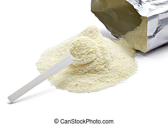 powdered milk dairy food for baby - close up of powdered...