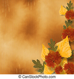 Grunge papers design in scrapbooking style with autumn foliage