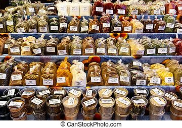 Herbs and spices on a market with flavours from all over the...