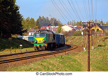 Freight train passing the curve