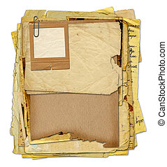 Old archive with letters, photos on the white isolated...