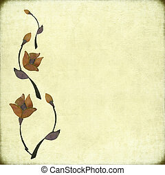 Stone Flower Design on Antique Background