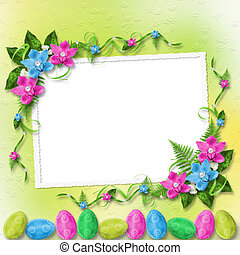 Pastel background with colored eggs and orchids to celebrate...