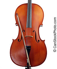 Isolated cello body with bow - Cello with bow, isolated on...