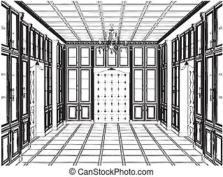 Antique Bookcase Room Vector