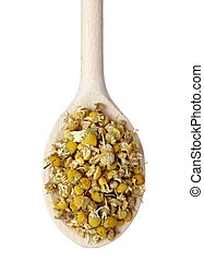 chamomile dried herb tea - close up of dried chamomile in...